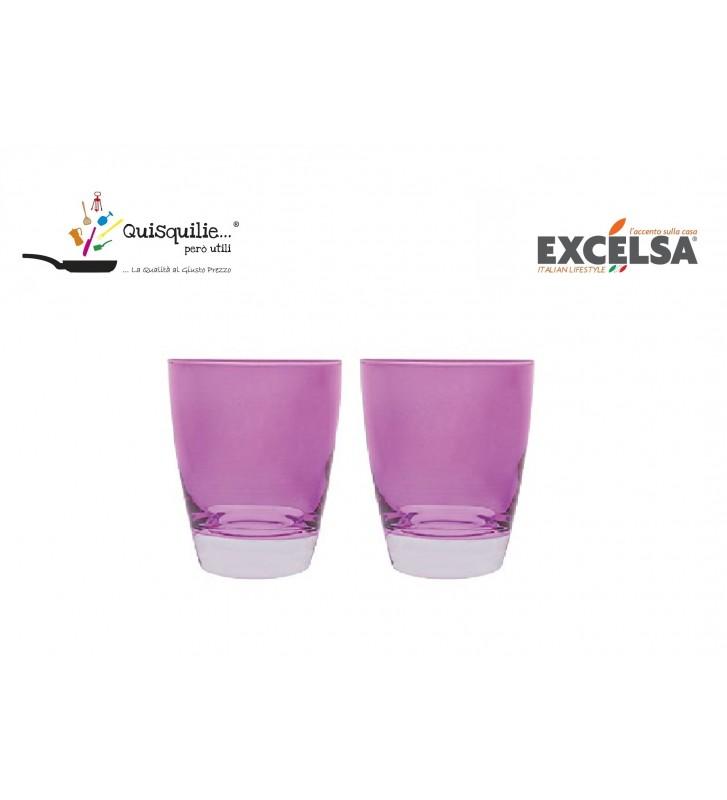 Excelsa Happy Colour Set 2 Pezzi Bicchieri Acqua , in Vetro