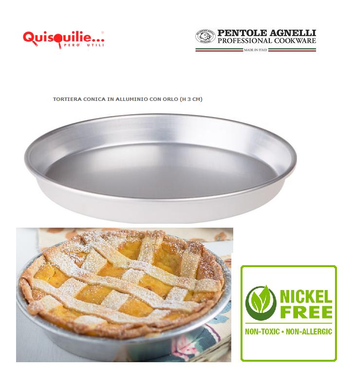 Pentole Agnelli Stampo Ruoto H 3 cm  per Pastiera Crostata in Alluminio Puro 100% Made in Italy